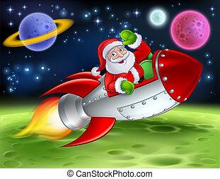 Santa in Space Rocket Cartoon Illustration