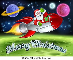 Santa in Space Rocket Merry Christmas Cartoon