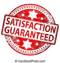 """Rubber stamp illustration showing """"SATISFACTION GUARANTEED"""" text"""