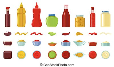 Sauce vector cartoon icon set . Collection vector illustration ketchup on white background. Isolated cartoon icon set sauce for web design.