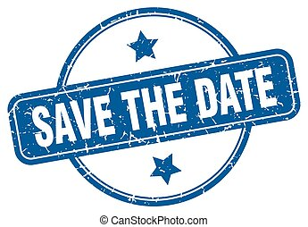 save the date round grunge isolated stamp
