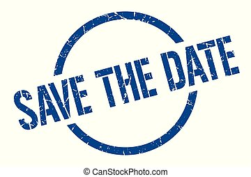 save the date blue round stamp