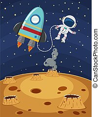 Scene with astronaut and spaceship flying in the space