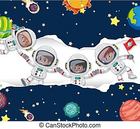Scene with many astronauts in the space background