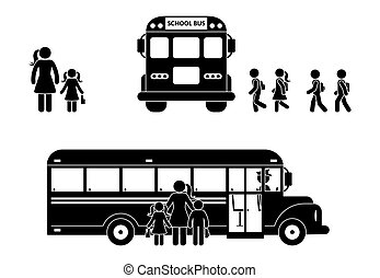 School boys and girls walking to bus stick figure