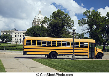 School Bus in front of State Capitol