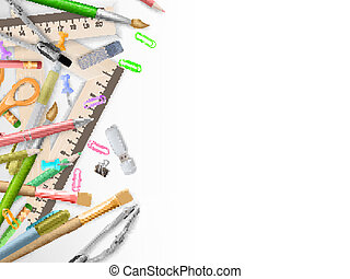 School supplies on white with copyspace. EPS 10