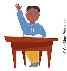 Schoolboy raising hand at lesson, boy sitting by table