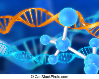 3d rendered illustration of molecules and double helix