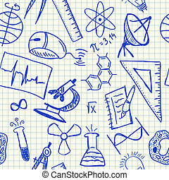 Science doodles on school squared paper, seamless pattern