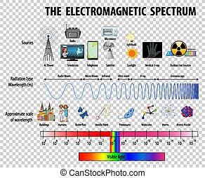 Science Electromagnetic Spectrum diagram on transparent background