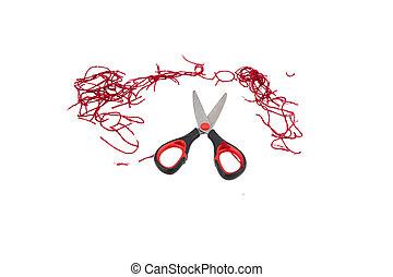 Scissors and thread on white
