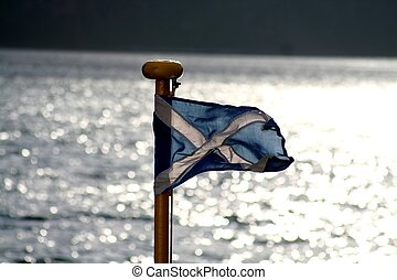 Scottish flag on front of ferry