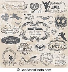 Scrapbook Design Elements - Vintage Valentine's Love Set - for design, scrapbook - in vector