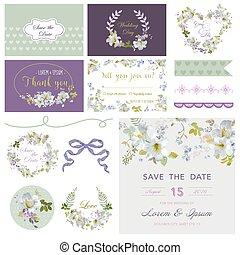Scrapbook Design Elements - Wedding Flower Lily Theme - in vector