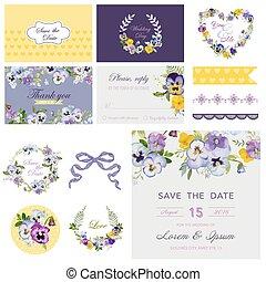 Scrapbook Design Elements - Wedding Flower Pansy Theme - in vector