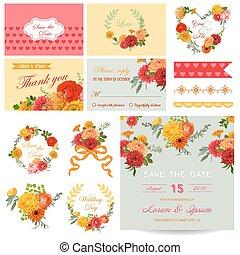 Scrapbook Design Elements - Wedding Invitation Flower Theme - in vector
