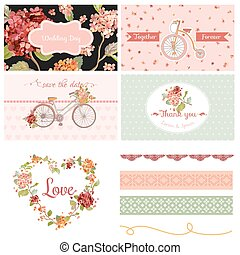 Scrapbook Design Elements - Wedding Party Hortensia Flowers and Bicycle Theme - in vector