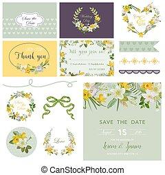 Scrapbook Design Elements - Wedding Spring Flower Theme - in vector