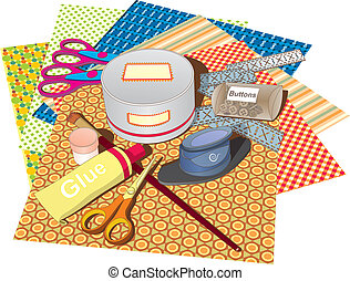 A set of papers and tools for scrapbooking classes