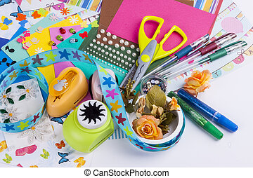 Scrapbooking set - white background.