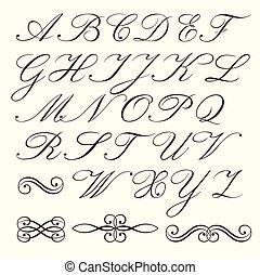 Hand drawn script alphabet and calligraphic emblems