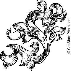 Scroll Floral Filigree Pattern Heraldry Design