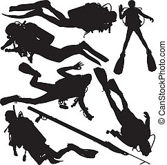 Scuba diver and speargun vector silhouettes. Layered and fully editable