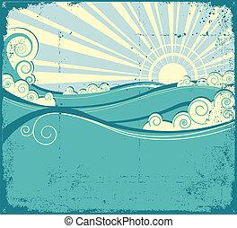 Sea waves background. Vintage illustration of sea landscape