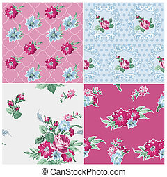 Seamless background Collection - Vintage Flowers - for design and scrapbook - in vector