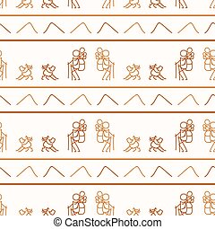 Seamless background stick figure and dog hiking neutral pattern. Whimsical minimal earthy 2 tone color. kids nursery wallpaper or boho cartoon camping fashion all over print.