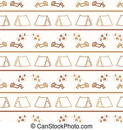 Seamless background stick figure and tent gender neutral pattern. Whimsical minimal earthy 2 tone color. kids nursery wallpaper or boho cartoon camping fashion all over print.