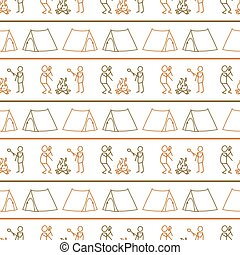 Seamless background stick figure campfire and tent gender neutral pattern. Whimsical minimal earthy 2 tone color. kids nursery wallpaper or boho cartoon camping fashion all over print.