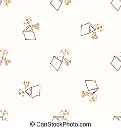 Seamless background stick figure tent and campfire neutral pattern. Whimsical minimal earthy 2 tone color. kids nursery wallpaper or boho cartoon camping fashion all over print.