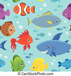 Seamless background stylized fishes 5