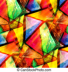 seamless background watercolor texture yellow, green, red, triangle abstract paper color paint pattern water design art