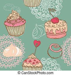 Seamless Background with Cakes, Sweets and Desserts - in vector
