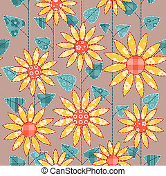 Seamless background with sunflowers. Patchwork vector background.