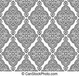 Seamless black and white damask pattern