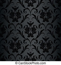 seamless black floral abstract wallpaper pattern background
