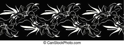 Seamless black white shoe flower border