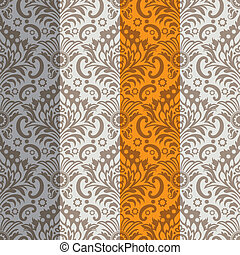 Seamless Classic Wallpaper Background, Color Set, editable vector illustration