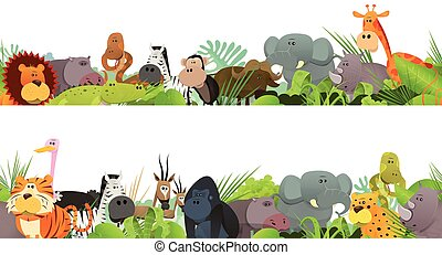 Illustration of a seamless frieze with cute various cartoon wild animals from african savannah, including lion, gorilla, elephant, giraffe, gazelle and zebra for bedroom wallpapers and print merchandising