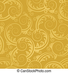 Seamless golden swirls and leaves wallpaper. This image is a vector illustration