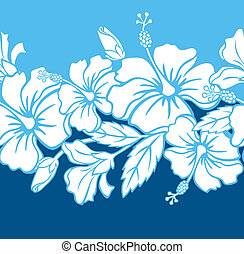 Illustration of a seamless Hibiscus Hybrid pattern tile. Tile can be dragged and dropped into Illustrator's swatches palette.