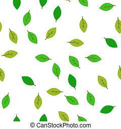 Seamless pattern green leaves. Flat vector template.