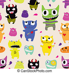 Seamless pattern of funny monsters - vector illustration