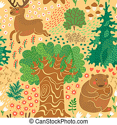 Seamless pattern with deer, bears in the woods.