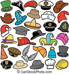seamless pattern with different hats