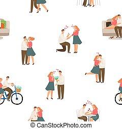 Seamless pattter happy love couple vector illustration